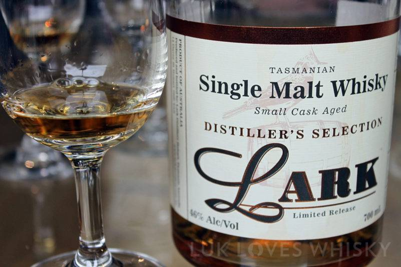 Lark Single Malt Whisky legs of alcohol