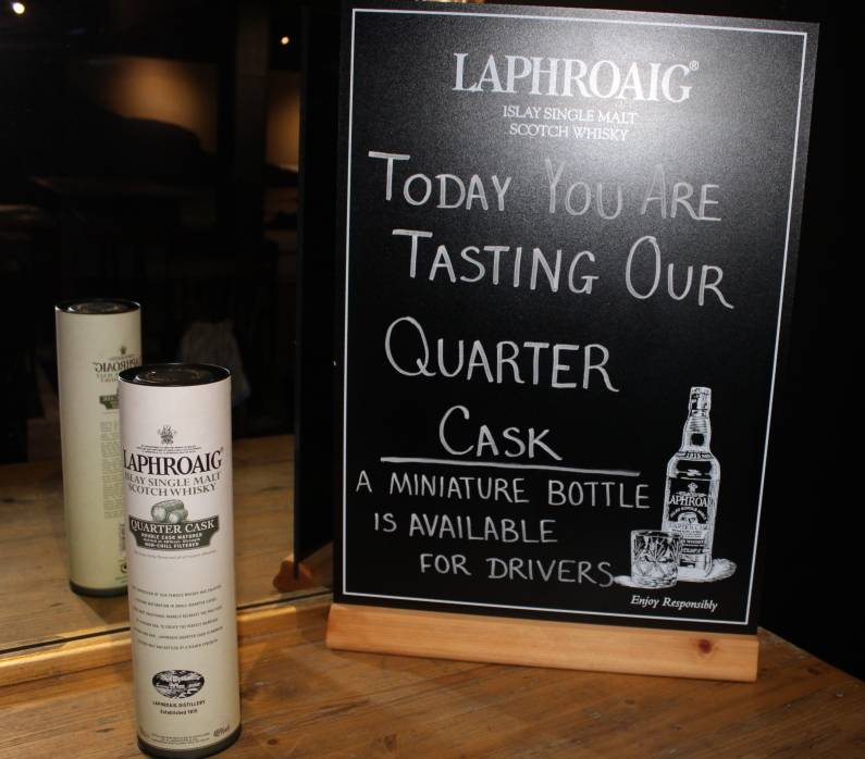 Welcome dram - Laphroaig Quarter Cask miniature bottle availiable for drivers