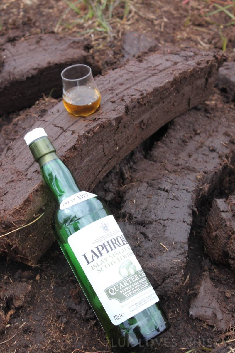 Laphroaig Quarter Cask in the peat surroundings Laphroaig Distillery, peat extraction