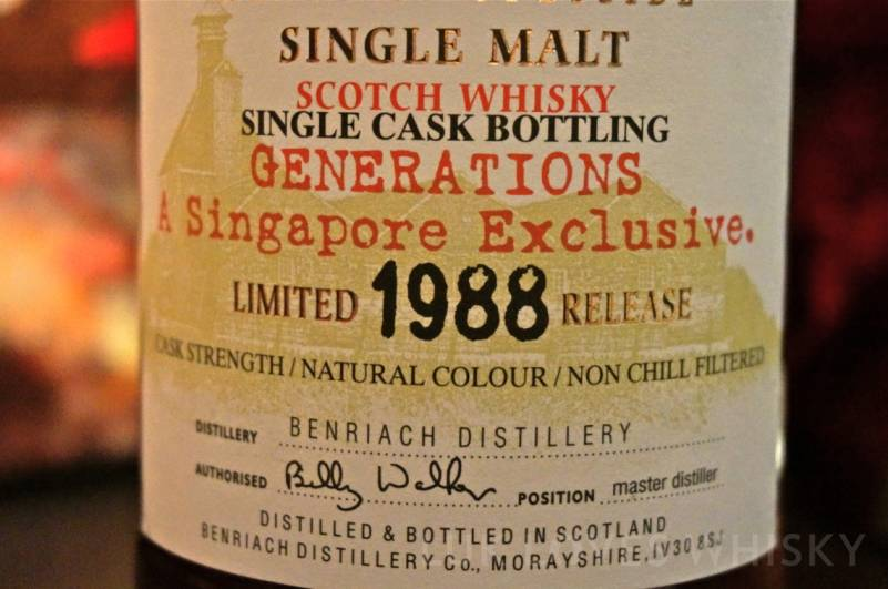 BenRiach 1988 Limited Release Generations Singapore Exclusive