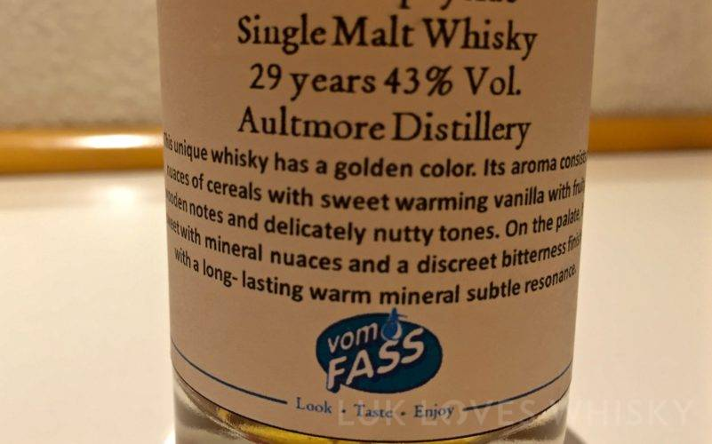 Aultmore 29 years old, 43% ABV