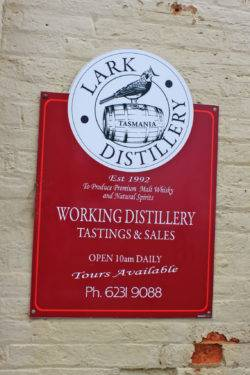 Lark Distillery information by the entrance